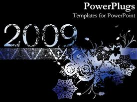 PowerPoint template displaying abstract silver colored floral design with a 2009 text
