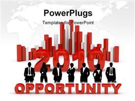 PowerPoint template displaying business opportunity in 2010, with bars