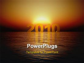 PowerPoint template displaying arrival of the year 2010, with sunrise