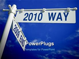 PowerPoint template displaying street post with year 2010 versus 2009, with blue sky
