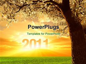 PowerPoint template displaying rise of year 2011, with nature
