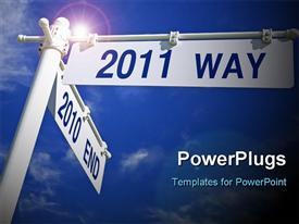 PowerPoint template displaying street post with direction for 2011, sky