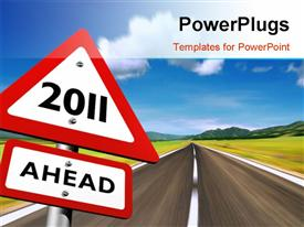 PowerPoint template displaying road to year 2011, with nature