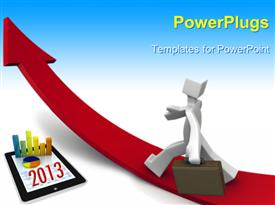 PowerPoint template displaying business growth in 2013, with blue color
