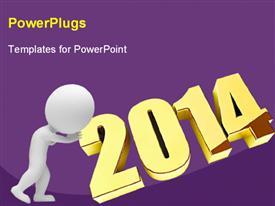 PowerPoint template displaying humanoid with 2014, with purple color