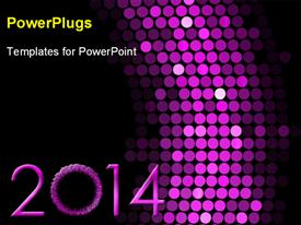 PowerPoint template displaying new year 2014 background, with lights