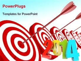 PowerPoint template displaying year 2014 right on target, with blue color