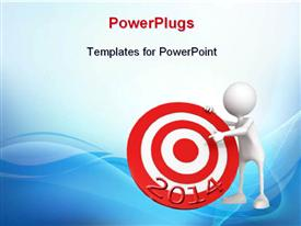 PowerPoint template displaying humanoid with target for 2014, with blue color