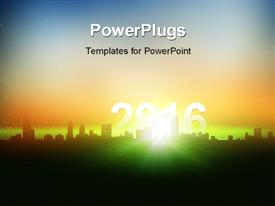 PowerPoint template displaying year 2016 glowing and rising from the cityscape