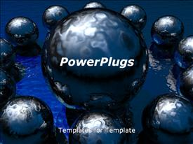 PowerPoint template displaying lots of 3D black colored shinny balls on a black background