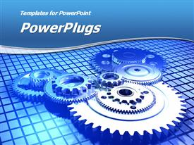 PowerPoint template displaying mechanical gear displayed in a mechanism on blue background
