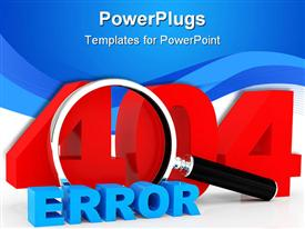PowerPoint template displaying server error 404, inscription on a white background