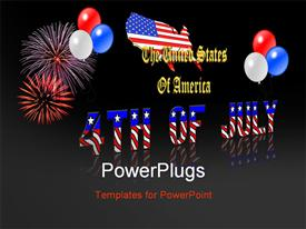 PowerPoint template displaying 4th July american independence, with balloons and fireworks