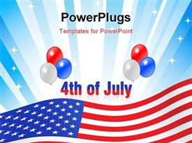 Illustrated text and red white and blue balloons design for Independence Day July 4th presentation background