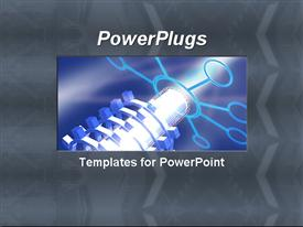 PowerPoint template displaying light shining lots of stacked up rims on an ash colored background