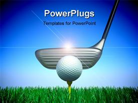 PowerPoint template displaying golf club and a ball 3D concept in the background.