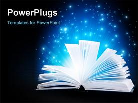 PowerPoint template displaying open book with pages fanned giving off lights on dark background