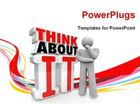 PowerPoint template displaying humanoid thinking about something, with curves