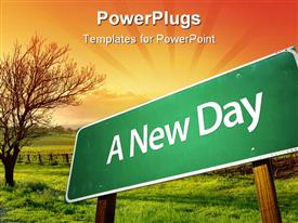 PowerPoint template displaying green road sign post with a new day text