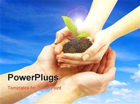 PowerPoint template displaying hands from sky dropping plant sprouting from earth on man's hand
