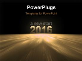 PowerPoint template displaying 2016 - A new start, on the surface of earth with space in the background