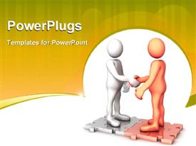 PowerPoint template displaying humanoids shaking hands, with brown color