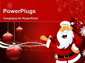 PowerPoint template displaying santa claus in christmas concept, with christmas balls