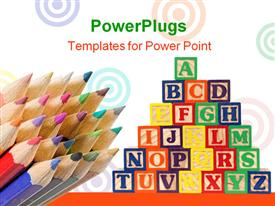 PowerPoint template displaying a lot of boxes with a number of color pencils