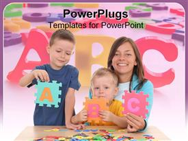 Children and mother playing with letters powerpoint template