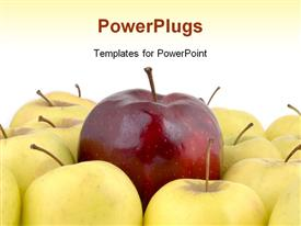 Large red apple surrounded by yellow apples powerpoint theme