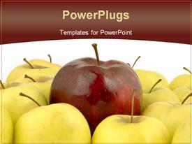 Large red apple surrounded by yellow apples powerpoint template