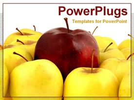 Red apple with yellow apples template for powerpoint