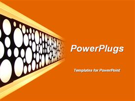 PowerPoint template displaying polka dots of white and black on board fades into orange background