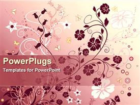 PowerPoint template displaying abstract floral background