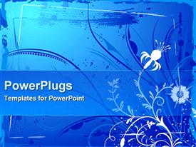 PowerPoint template displaying abstract floral frame in the background.