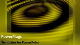 PowerPoint template displaying soft yellow circles open hypnotically in a concentric pattern - widescreen format