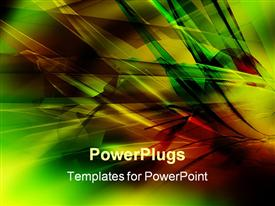 PowerPoint template displaying abstract geometric shapes in green, yellow, and red