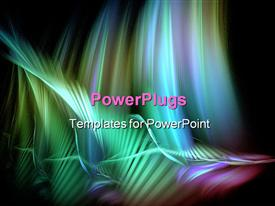 PowerPoint template displaying abstract colorful wave painting on a pitch black background