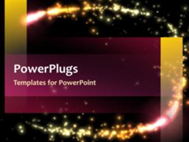 PowerPoint template displaying abstract video template with sparkling pink and golden globs circling the screen in the background.