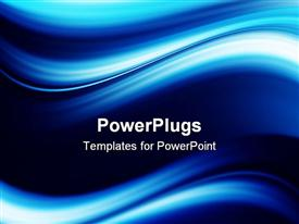 PowerPoint template displaying blue dynamic and luminous waves. Abstract background