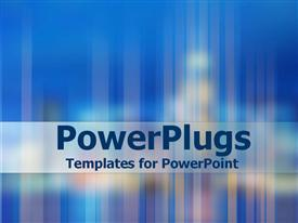 PowerPoint template displaying blue background with city lights blurred and faded