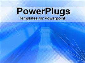 PowerPoint template displaying depiction of  a plain blue and white background block