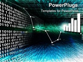 PowerPoint template displaying a number of graphs and tables with binary numbers