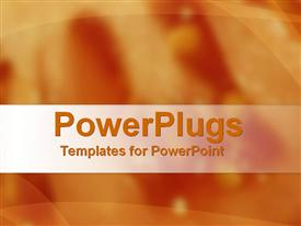 PowerPoint template displaying abstract depiction of  plane solid orange blurry background