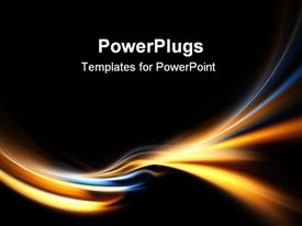 PowerPoint template displaying electric blue and gold curves on black background