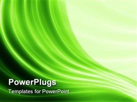 PowerPoint template displaying green wave like lines with different shades of green