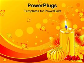 PowerPoint template displaying pillar candle, small pumpkin, autumn leaves all in gold and red