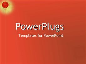 PowerPoint template displaying a plain orange red background with a red ball