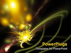 PowerPoint template displaying yellow sparks with light streaks on black background, abstract fractal space art