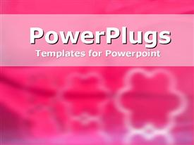 PowerPoint template displaying three white floral patters on a blurry pink background